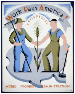 "WPA poster ""Work Pays America"" with two men shaking hands over wheat. Farm and Industry imagery."
