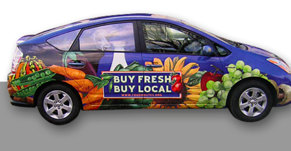 Buy Fresh Buy Local Car Wrap with full coverage illustrations of fruits, vegetables, local food