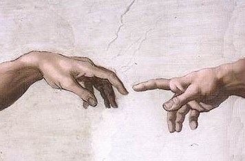 Fingertips touching from God to Adam