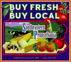 Buy Fresh Buy Local Southeastern PA label depicting farm scene, rooster, mushrooms, melon, cheese, peaches and apple