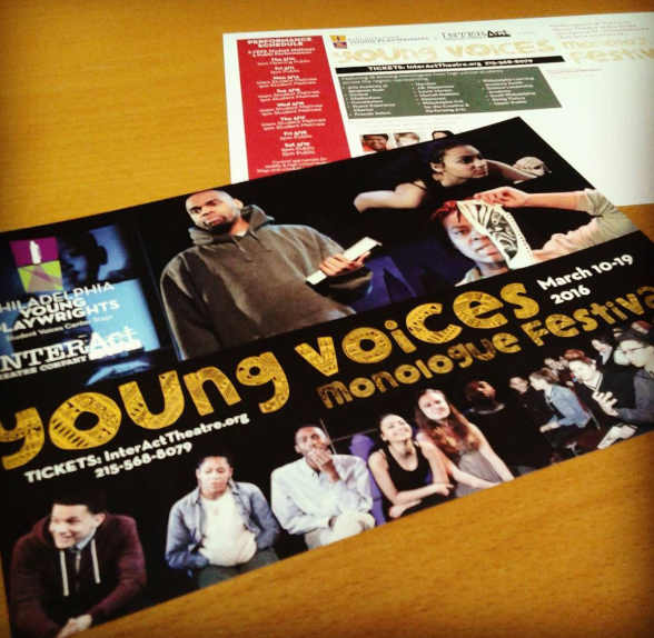 Young Voices Monologue Festival Postcard with photos of diverse youth and professional actors