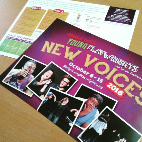 New Voices Postcard 2016 for Philadelphia Young Playwrights with photos of diverse youth and professional actors