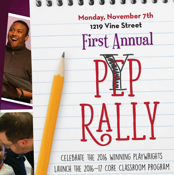 PYP Rally for Philadelphia Young Playwrights with pencil on paper and photos of diverse youth