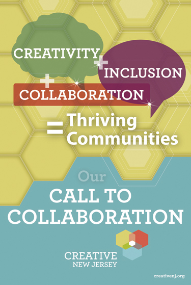 Poster with honeycomb background and text: Creativity + Collaboration + Inclusion = Thriving Communities, Our Call to Collaboration