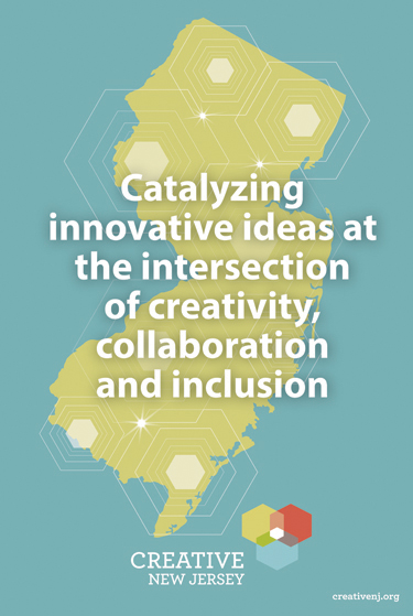 Image of state of NJ map with hotspots and text: Catalyzing innovative ideas at the intersection of creativity, collaboration and inclusion